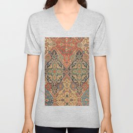 Geometric Leaves VIII // 18th Century Distressed Red Blue Green Colorful Ornate Accent Rug Pattern Unisex V-Neck