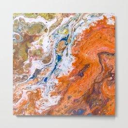 Orange Crush Acrylic Pour Painting Metal Print