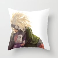 kakashi Throw Pillows featuring Ninja pup by Aleksandra Chabros aka Adelaida