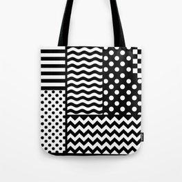 Mixed Patterns (Horizontal Stripes/Polka Dots/Wavy Stripes/Chevron/Checker) Tote Bag