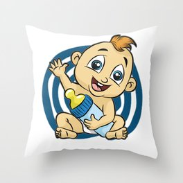 IT S A BOY Baby Birth funny cute happy gift comic Throw Pillow