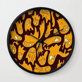 Orange Ghosties Wall Clock