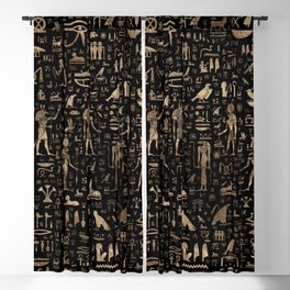 Ancient Egyptian Gods and hieroglyphs - Black and gold Blackout Curtain