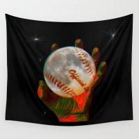 baseball Wall Tapestries featuring Baseball Moon by Mel Moongazer