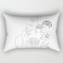 Minimal Line Art Woman with Flowers III Rectangular Pillow