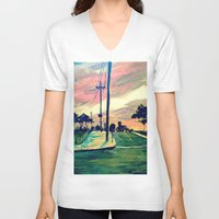 urban V-neck T-shirts featuring Urban // Slowtown by Samantha Crepeau