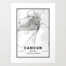 Cancun Light City Map Art Print