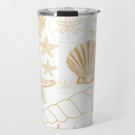 Gold Sea Shells on white Travel Mug
