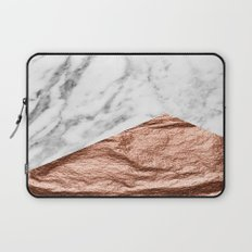 Marble & rose gold geometric Laptop Sleeve