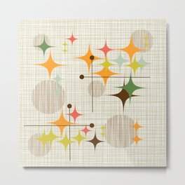 Mid Century Modern Starbursts and Globes 3a Metal Print