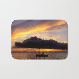 Tahiti Tropical Sunset over Sailboat Bath Mat