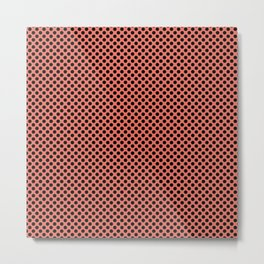Coral and Black Polka Dots Metal Print