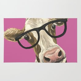 Pink Cow with glasses art, Cute Cow With Glasses Rug
