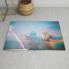 """Rainbow Sisters on the Shoreline"" Holga photograph Rug"