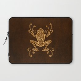 Intricate Golden Brown Tree Frog Laptop Sleeve