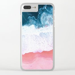 Pink Blue Ocean Aerial View Clear iPhone Case