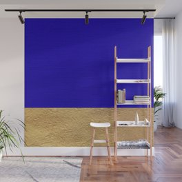 Color Blocked Gold & Cerulean Wall Mural