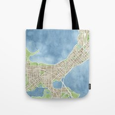 City Map Madison Wisconsin watercolor  Tote Bag