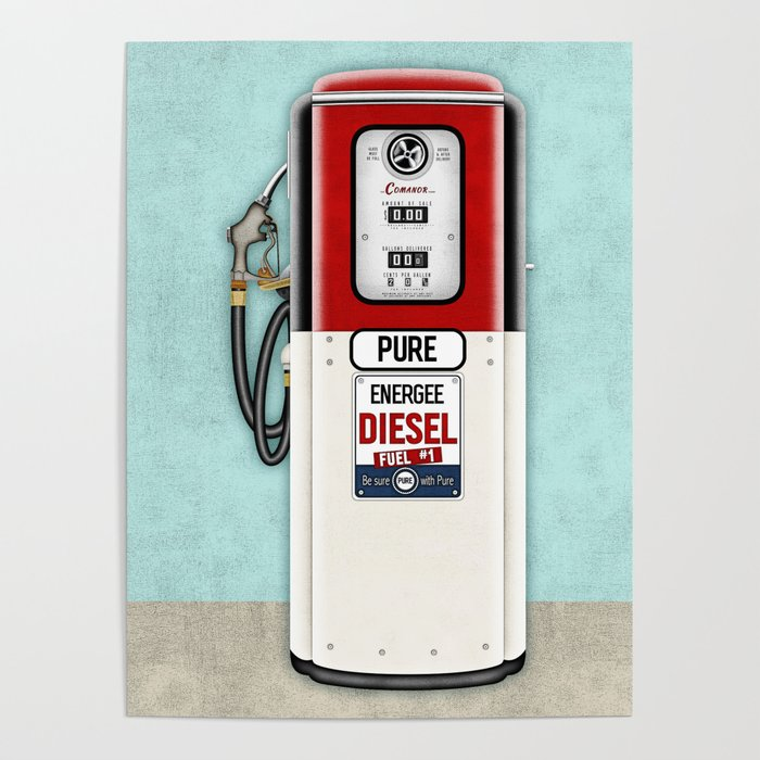 Retro Gas Pump in Red, Black and Aqua Poster by elsysart