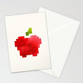 Red Macintosh Apple Watercolor Painting Pixel Digital Art Geometric Fruit Vector Stationery Cards