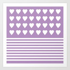 Heart Stripes Orchid Art Print