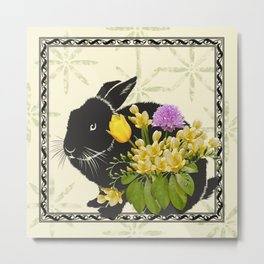 Bunny with Spring Flowers Metal Print
