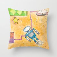 lab Throw Pillows featuring Robot Lab by Cheryl Chiappetta Murray