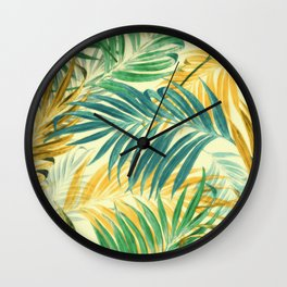 Palm Leaves in Yellow Wall Clock
