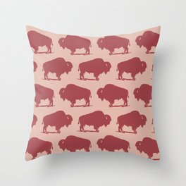 Buffalo Bison Pattern Dusty Rose and Burgundy Throw Pillow