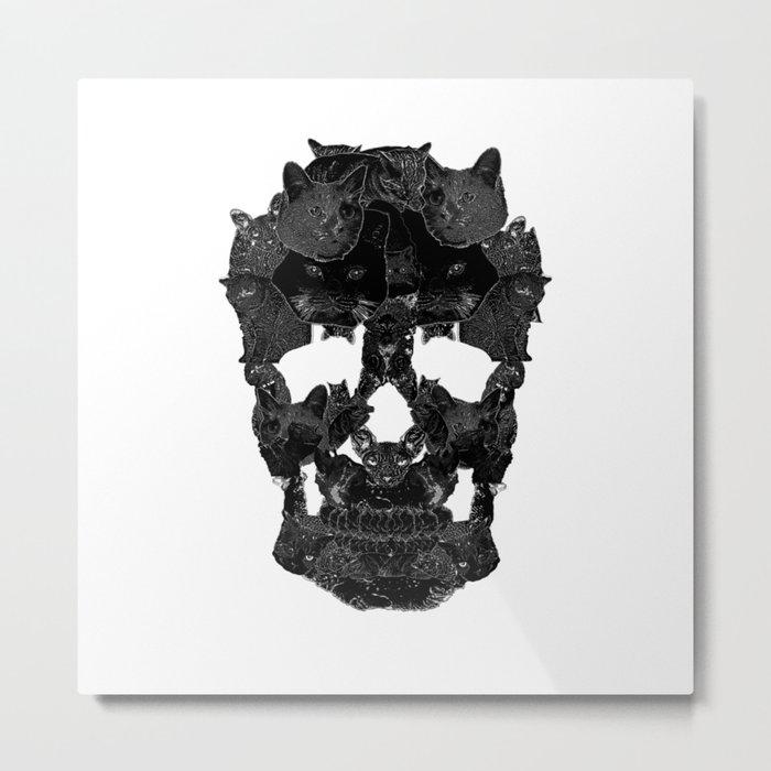 Sketchy Cat skull Metal Print
