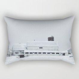 White Barn in Winter Rectangular Pillow