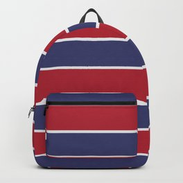 Large Red White and Blue USA Memorial Day Holiday Horizontal Cabana Stripes Backpack
