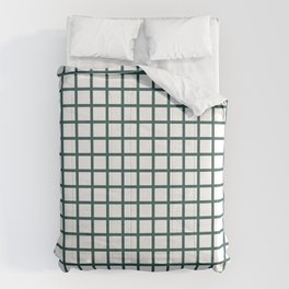 Grid (Jungle Green & White Pattern) Comforters