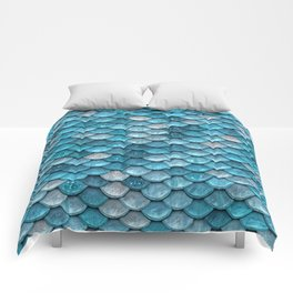 Luxury Turquoise Mermaid Sparkling Glitter Scales - Mermaidscales Comforters