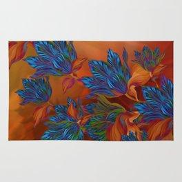 """Blue flowers on orange silk"" (Air Spring at night) Rug"