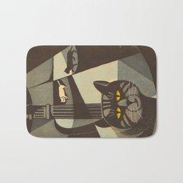 Inagaki Tomoo Vintage Japanese Woodblock print mid century Modern Cubism Art Cats Feline Bath Mat