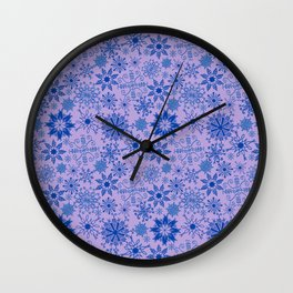 Blue Snowflakes Wall Clock