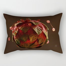 Red, Leafy and Playful Rectangular Pillow