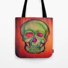 Watercolor skull/Green Tote Bag