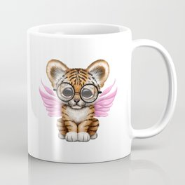 Tiger Cub with Fairy Wings Wearing Glasses on Pink Coffee Mug