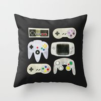 gamer Throw Pillows featuring Gamer Nostalgia by discojellyfish