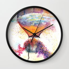 Hot Air Balloon on Fire Watercolor Wall Clock