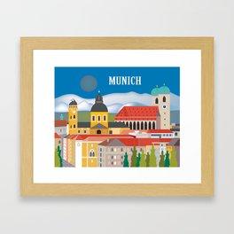 Munich, Germany - Skyline Illustration by Loose Petals Framed Art Print