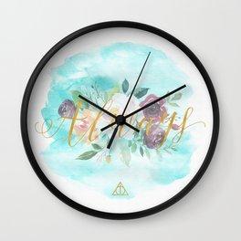 Always - Floral Letterpress/Gold Wall Clock
