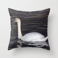 black swan Throw Pillows featuring Swan by WonderfulDreamPicture