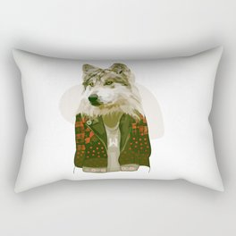 wolf jacket Rectangular Pillow