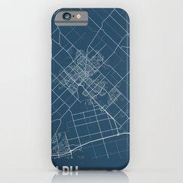 Guelph Blueprint Street Map, Guelph Colour Map Prints iPhone Case