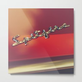 Triumph spitfire, chromed logo, macro photo, supercar details, red auto Metal Print