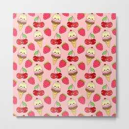 Cute funny sweet adorable happy Kawaii ice cream cones with sprinkles, little cherries and red ripe summer strawberries cartoon fantasy pastel peach pattern design Metal Print