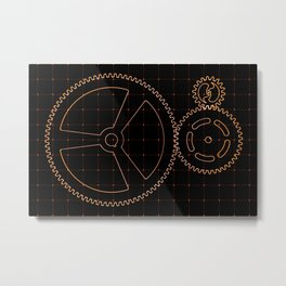 Set of red gears and cogs on virtual screen Metal Print